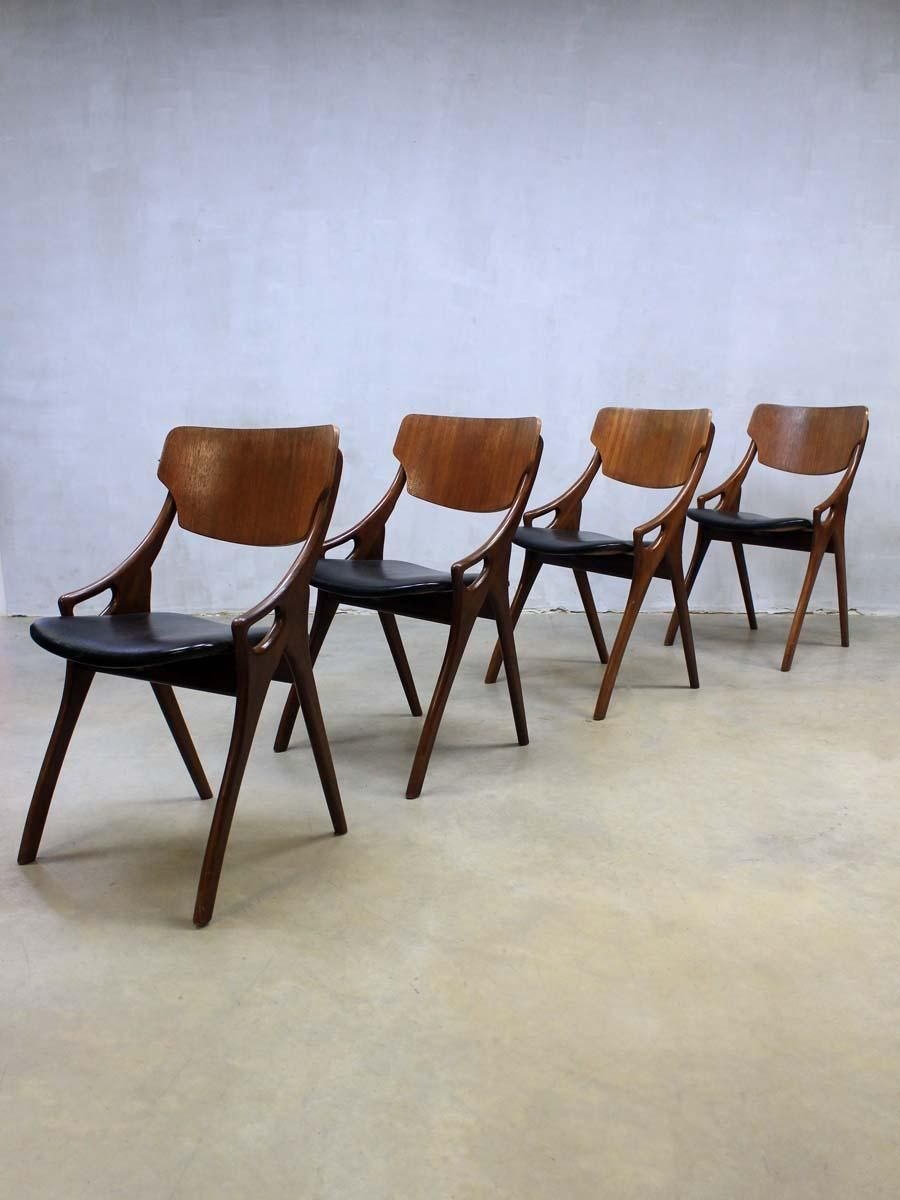 Vintage Danish Dining Chairs By Arne Hovmand Olsen For Mogens Kold Set Of 4 1