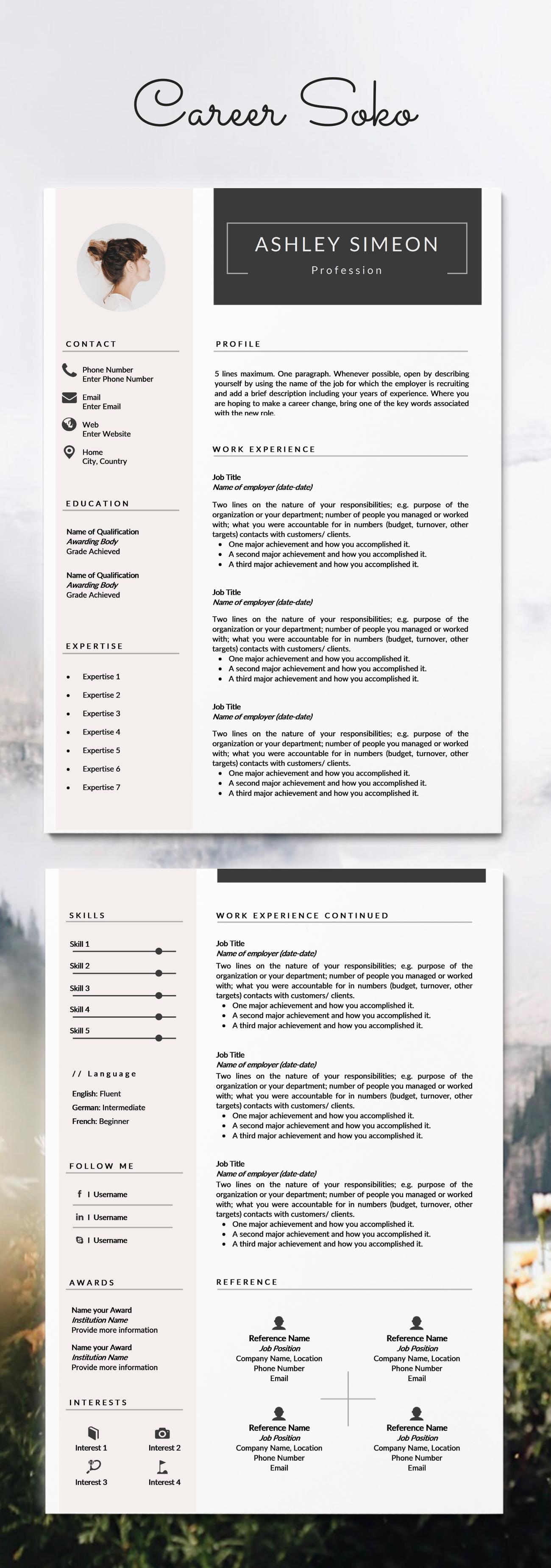 Minimalist Resume 2 Page Resume Template Cv Template Etsy Desain Cv Cv Kreatif Brosur