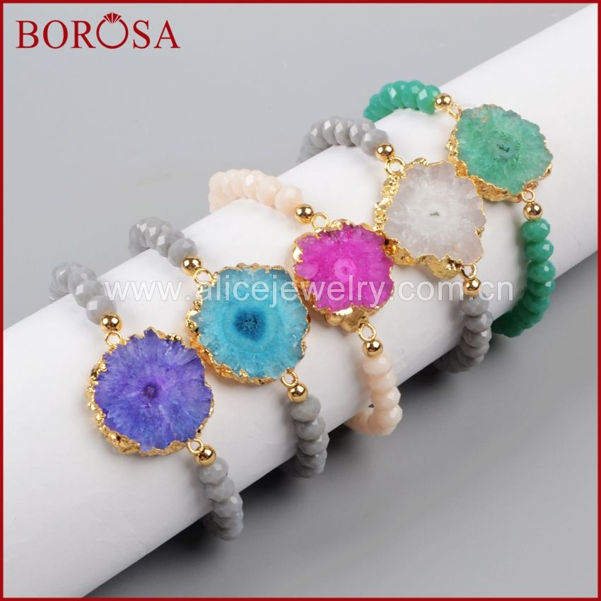 BOROSA Gold Plated Mix Color Natural Solar Quartz Slice & 6mm Grey Color Beads G1018