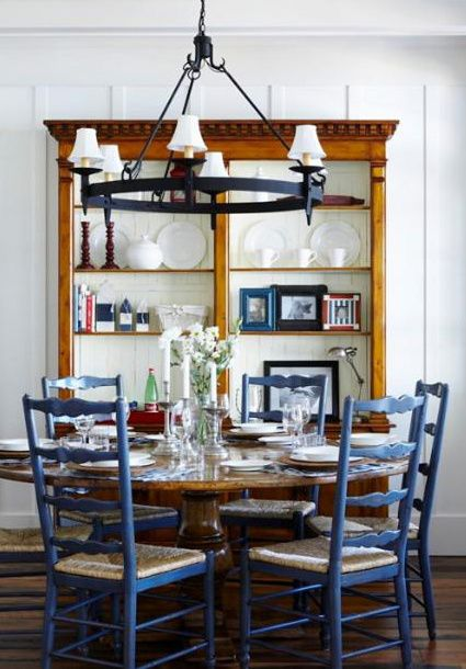 Nautical Style Dining Space With Ladder Back Chairs Ladder Back Chairs Blue Dining Room