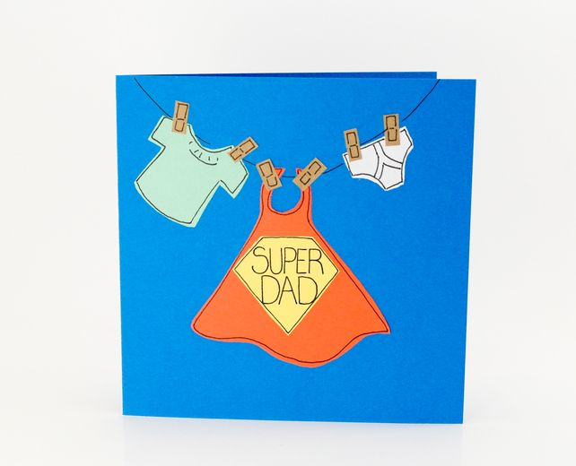 Greeting Card Fathers Day Card Birthday Card Super Dad