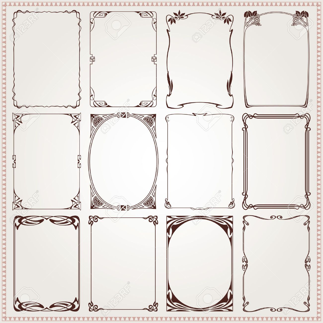 Decorative vintage borders and frames Art Nouveau style vector ...