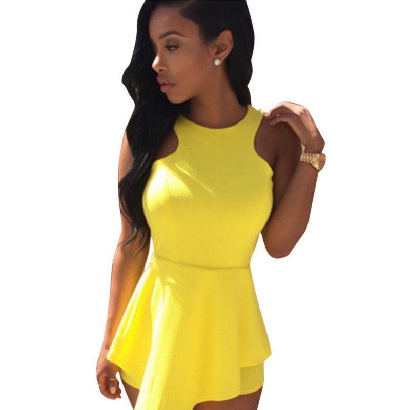 여름 여성 캐주얼 민소매 Playsuit 파티 Clubwear 짧은 점프 슈트 장난 꾸러기