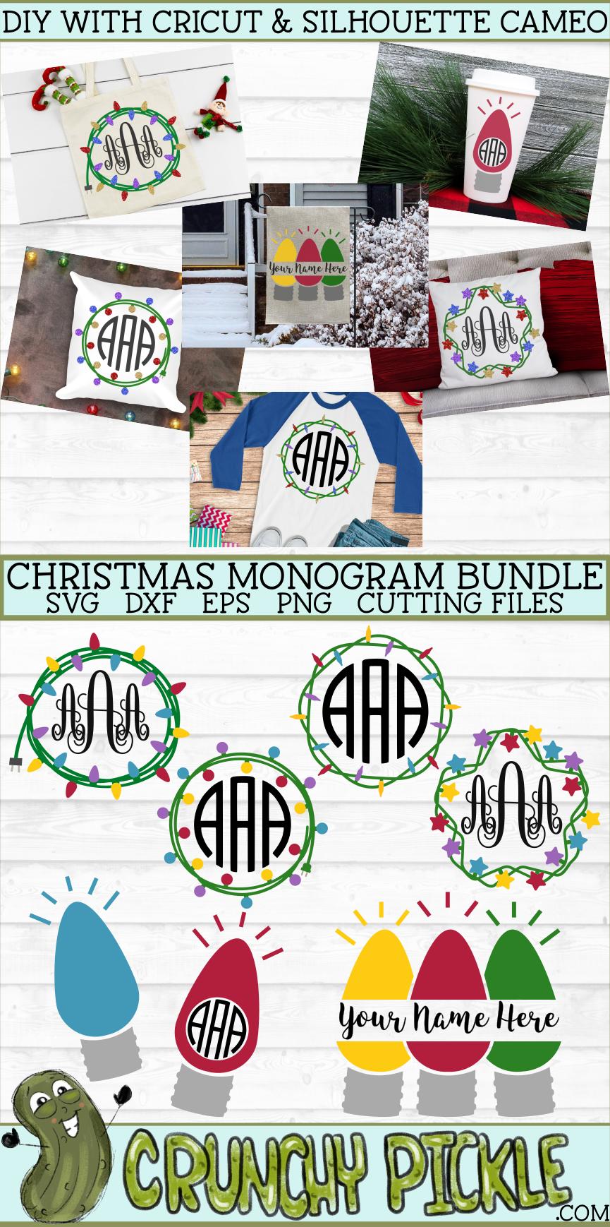 Christmas Lights Monogram Frame SVG Bundle Monogram