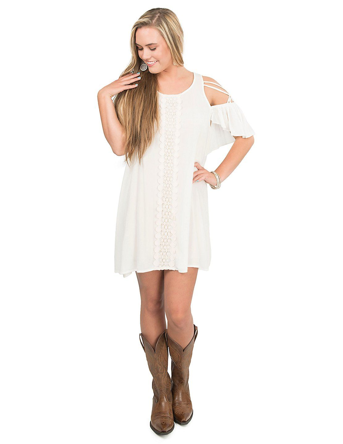 30f80bf9aaac Flying Tomato Women s Off White with Crochet Front and Open Shoulder Dress
