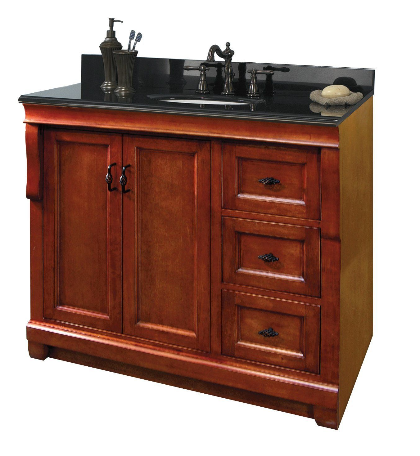 Foremost Fmnaca3621d Naples 36 Inch Bath Vanity Cabinet Only Warm Cinnamon Bathroom Vanities
