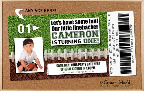 Football Birthday Invitation Party Printables Ticket In