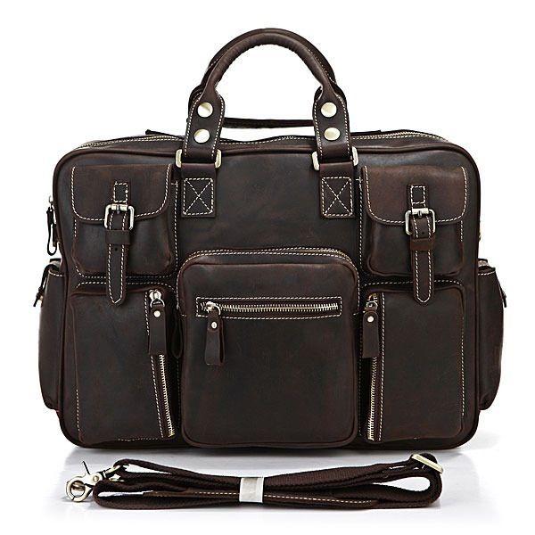 Image of Handmade Genuine Crazy Horse Leather Business Travel Bag ... e3240cbf0a