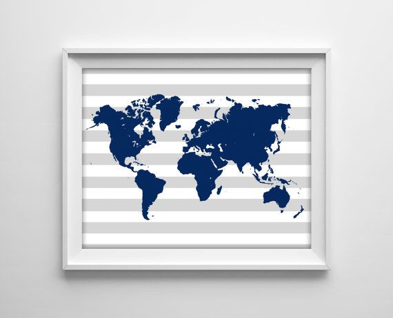 World map nursery print navy blue and gray stripes map silhouette new to bysamantha on etsy world map nursery print navy blue and gray stripes map silhouette travel nursery modern boy nursery decor sku usd gumiabroncs Image collections