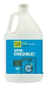 Laundry Detergent - Spin Credible Natural Laundry Detergent, One Gallon Refill   Better Life — Our natural, color-safe, 4x ultra-concentrated detergent dissolves dirt and stains, leaving laundry as fresh, bright, and soft as the first day you wore it. It can't help you find that missing sock, but it'll leave the other one feeling (and smelling) divine. Compatible for HE and standard machines.