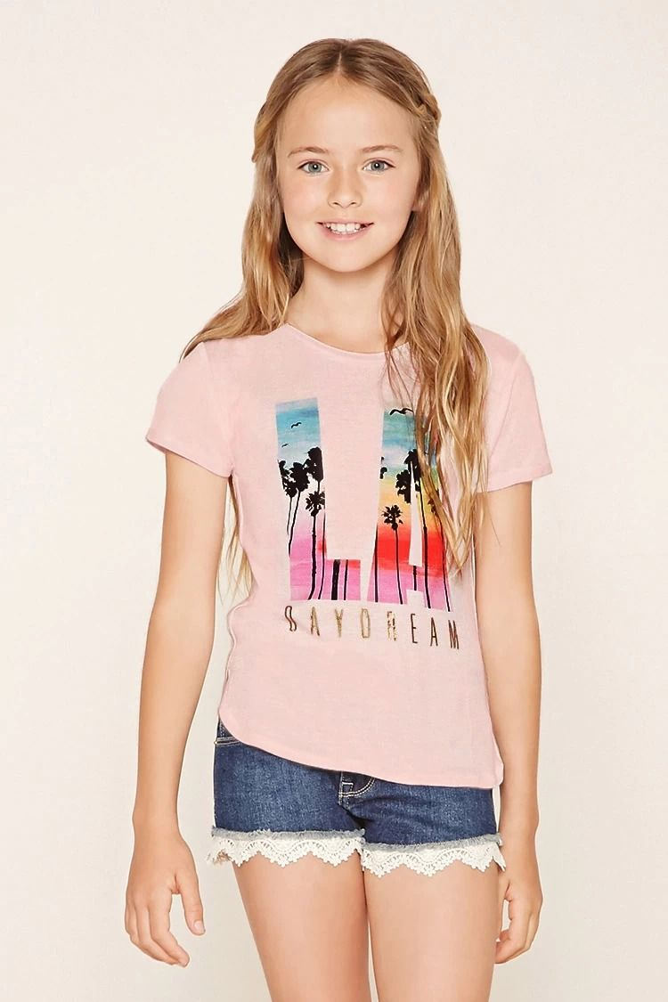 forever 21 girls a knit tee with cuffed short sleeves f21kids forever21 girls pinterest. Black Bedroom Furniture Sets. Home Design Ideas