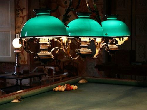 Pool Table Light Ideas gold pool table espresso brown media unit flat screen tv built ins velvet taupe benches silk gray pillows and triple pendant drum pendant lights Pool Table Lighting Vintage