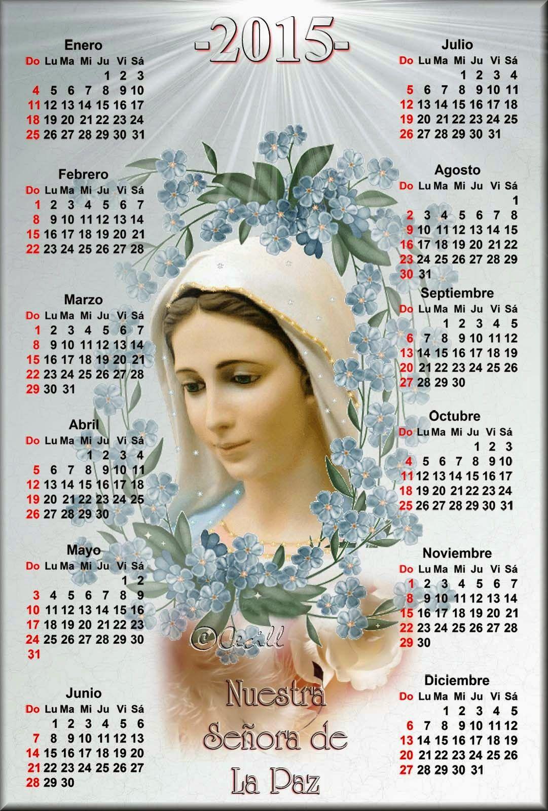 Vidas Santas: Calendario de la Virgen María Reina de la Paz, 2015