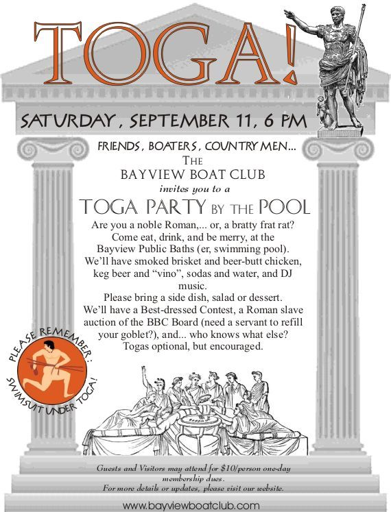 Toga Party 2010 Flyer Bayview Boat Club Lake Ray Hubbard Toga Party Toga Party