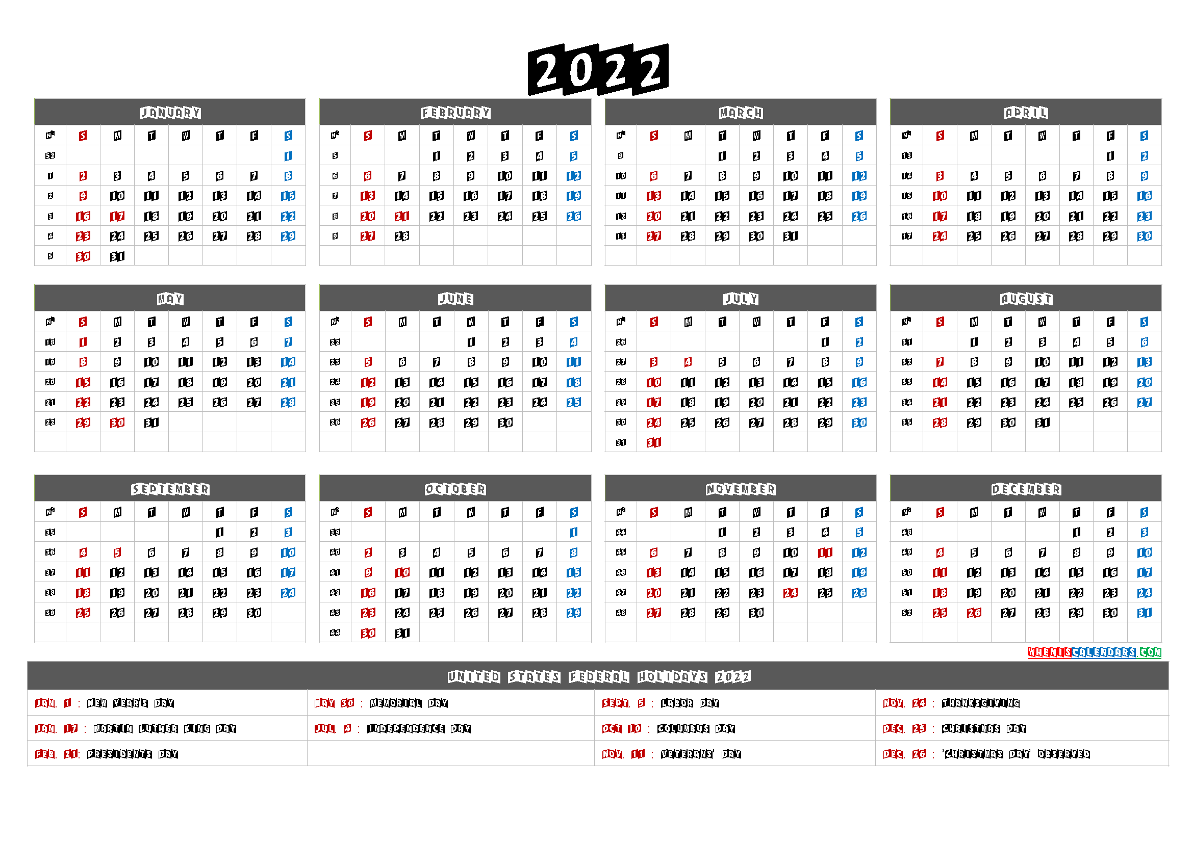 2022 Calendar Printable One Page - 6 Templates in 2020 ...