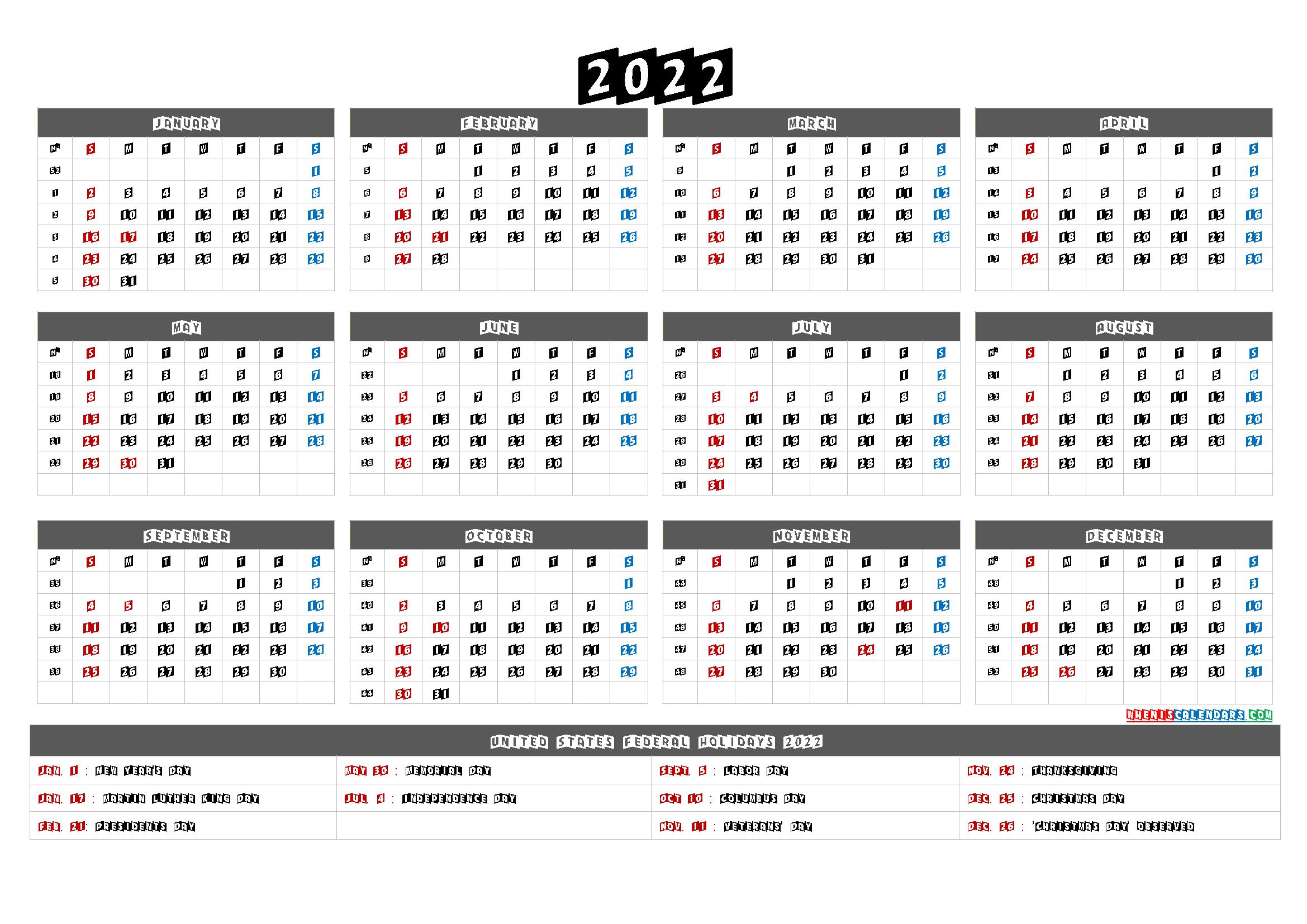 20+ Calendar For 2022 Printable - Free Download Printable ...