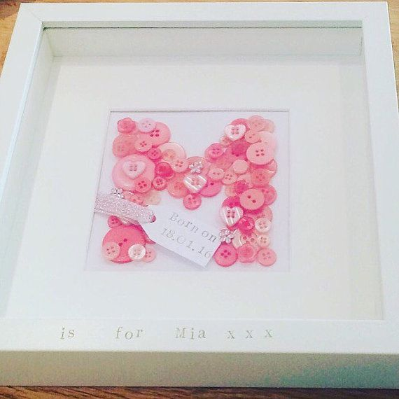 Button Initial frame, Personalised button frame, personalized letter ...