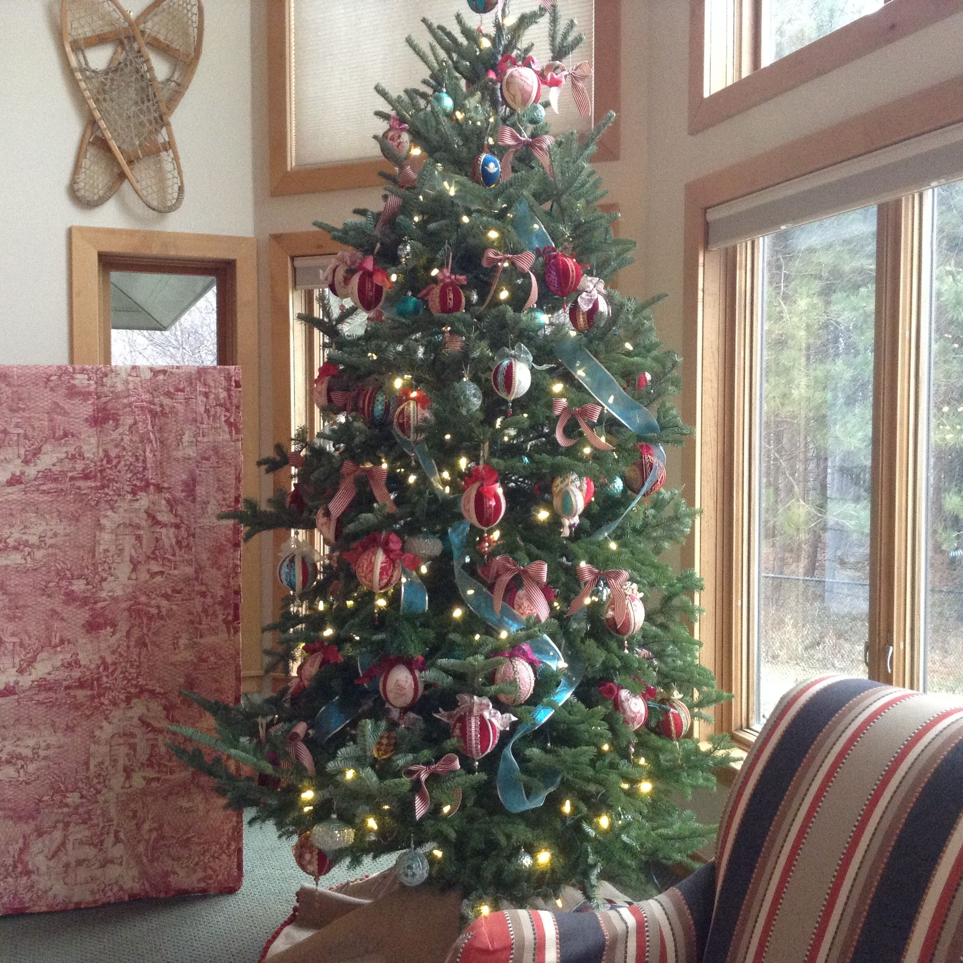 Tree Decorated With Louis Xvi Style Toile Covered Ribbon Bow