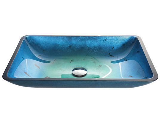 Glass Vessel Sinks From Just $65-Irruption Blue Rectangular Glass