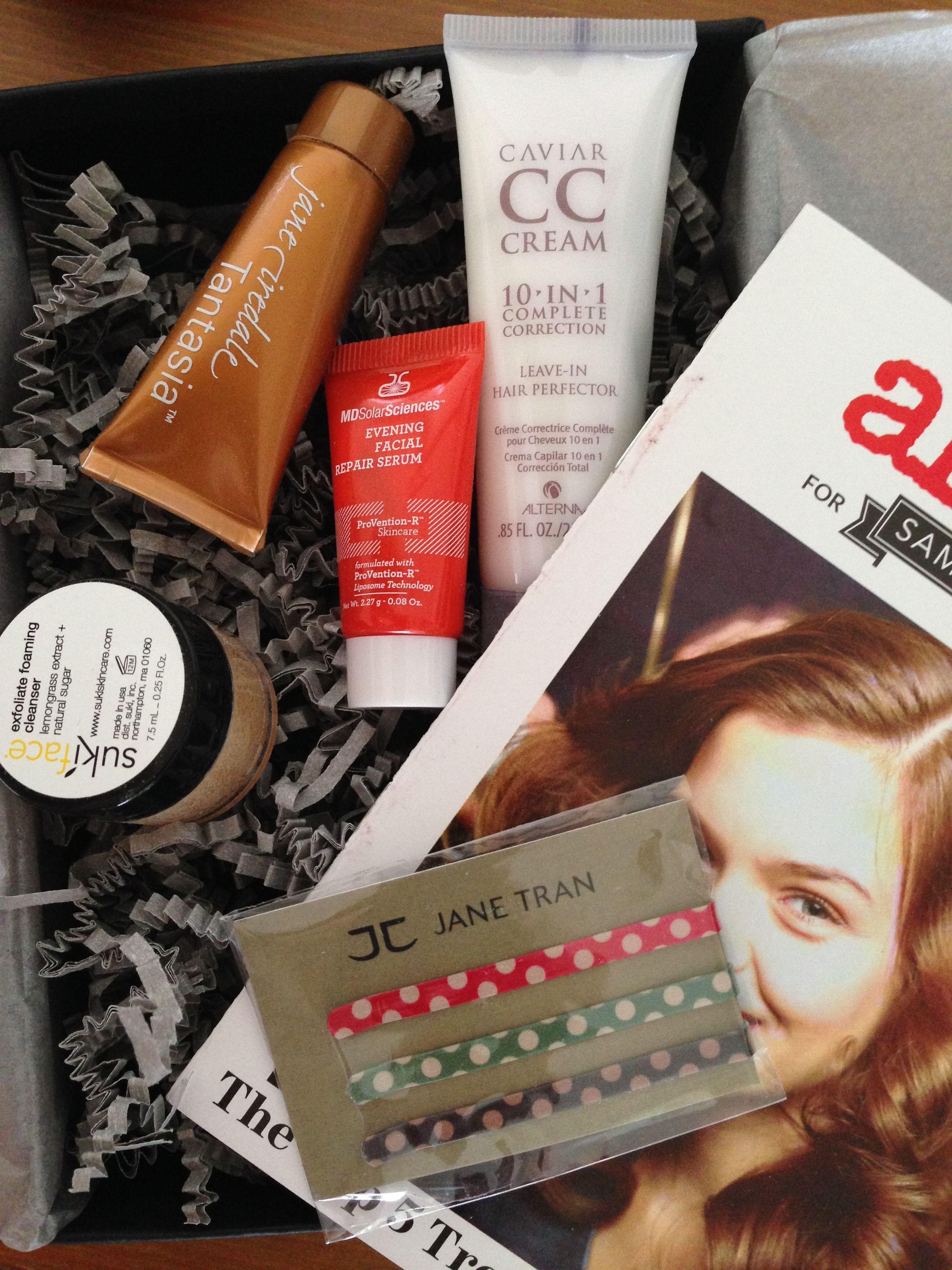 Feb 2014 Beauty Bar. Was impressed mostly by the Suki exfoliating scrub....CC cream for hair, really?!