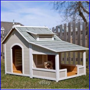 Outdoor Wooden Cottage Dog House Covered Front Porch Dog House