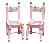 Girls Pink Princess Wooden Chairs ( Pair ) - Wooden Toys Direct