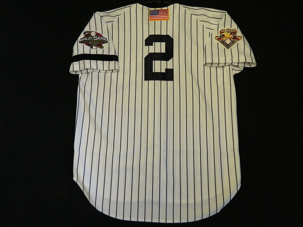 bb0bdb2db Authentic Derek Jeter Yankees Home 2001 World Series Jersey w Patch    Armband 44  NewYorkYankees
