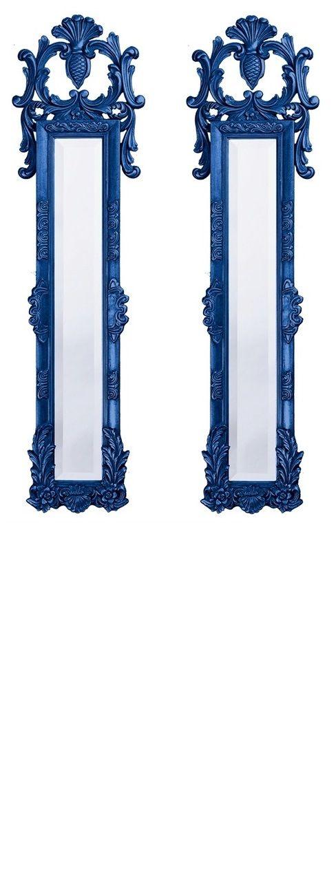 Wall mirrors 58 tall narrow baroque mirrors royal blue for Tall narrow wall mirrors