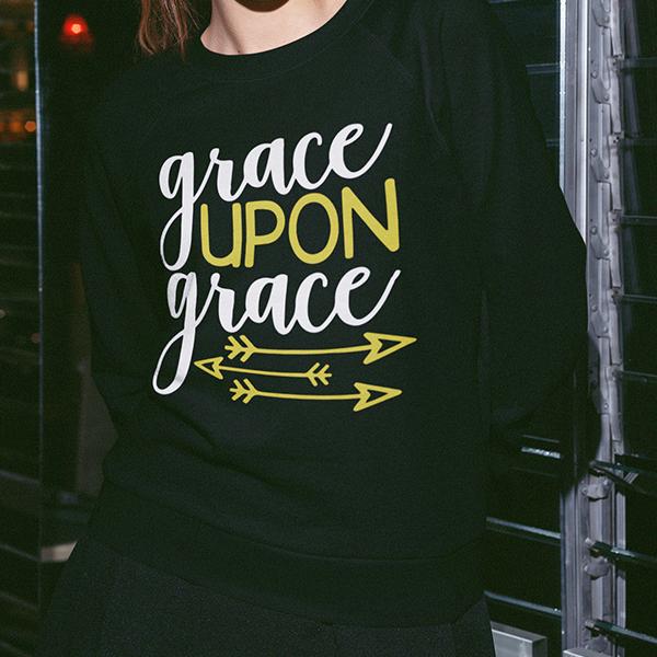 Grace upon grace long sleeve t-shirt | Christian apparel