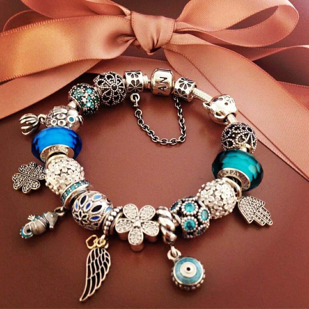 $419 Pandora Charm Bracelet Blue Green Hot Sale!
