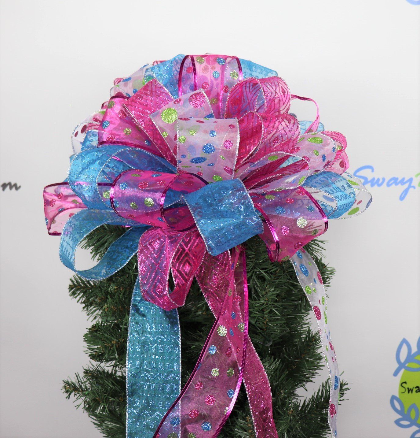 Whimsical Christmas Tree Topper Bow, Holiday Decorations ...