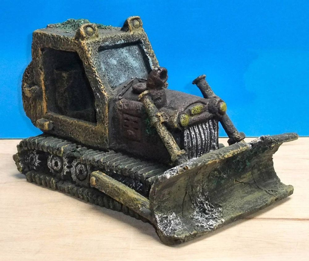 Bulldozer large wreck aquarium ornament fish tank bowl for Tall fish tank decorations