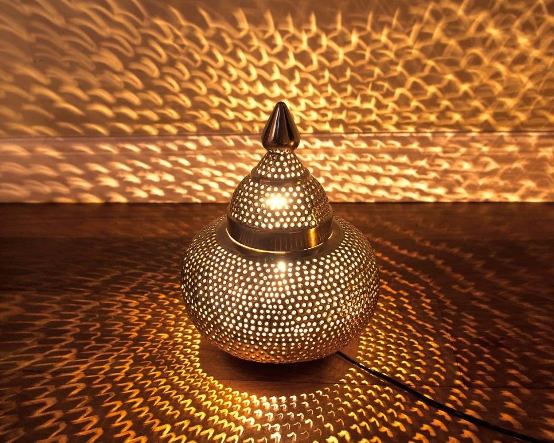 Fascinating Moroccan Search Engine Table Lamp With Made Of Silver Sheet  Metal And Light Filters Through