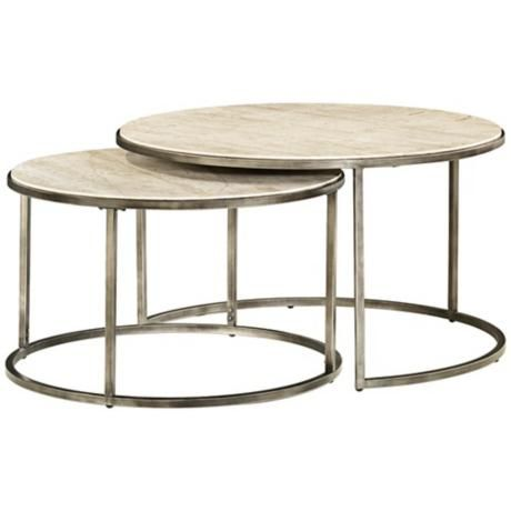 Modern Basics Round 2 Piece Bronze Coffee Table Style # 2J536 This Round  Bronze
