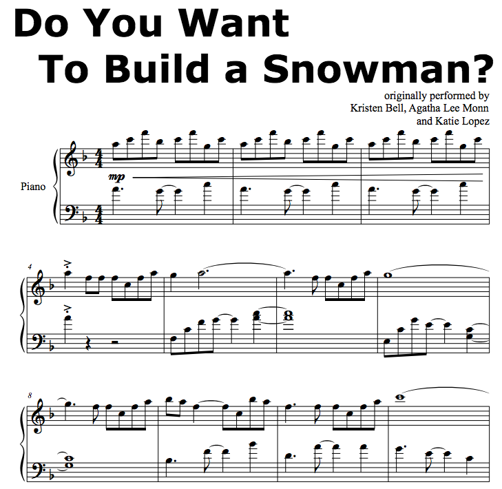 Do You Want To Build A Snowman piano score - Google Search ...