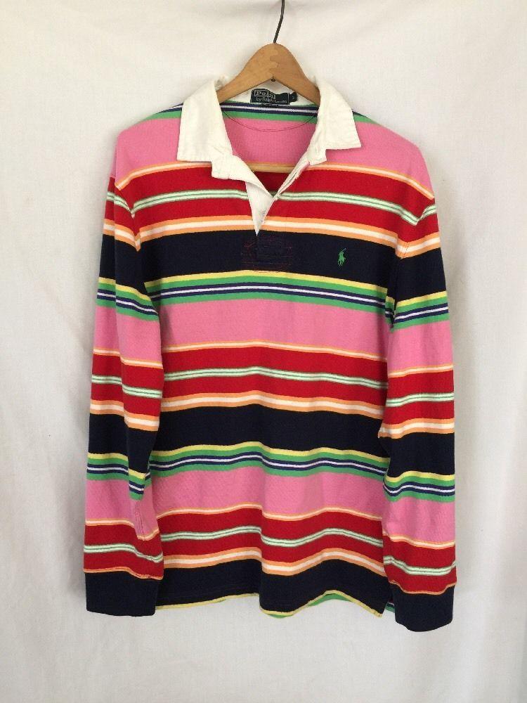 POLO RALPH LAUREN VINTAGE Men's L/S Rugby Shirt Size L Pink Stripe Multi  Color