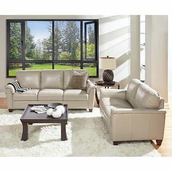 Ancona Taupe Top Grain Leather Sofa And Loveseat Costco Furniture Leather Sofa And Loveseat Top Grain Leather Sofa