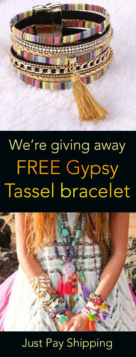 We Give Away Free Gypsy Tassel Braclet With Leather Like And
