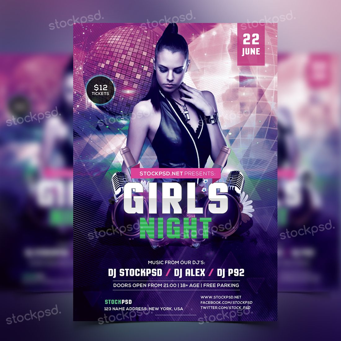 Girls Night Party Free Psd Flyer Template Party Poster