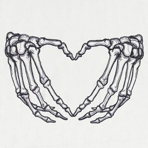 skeleton hands heart