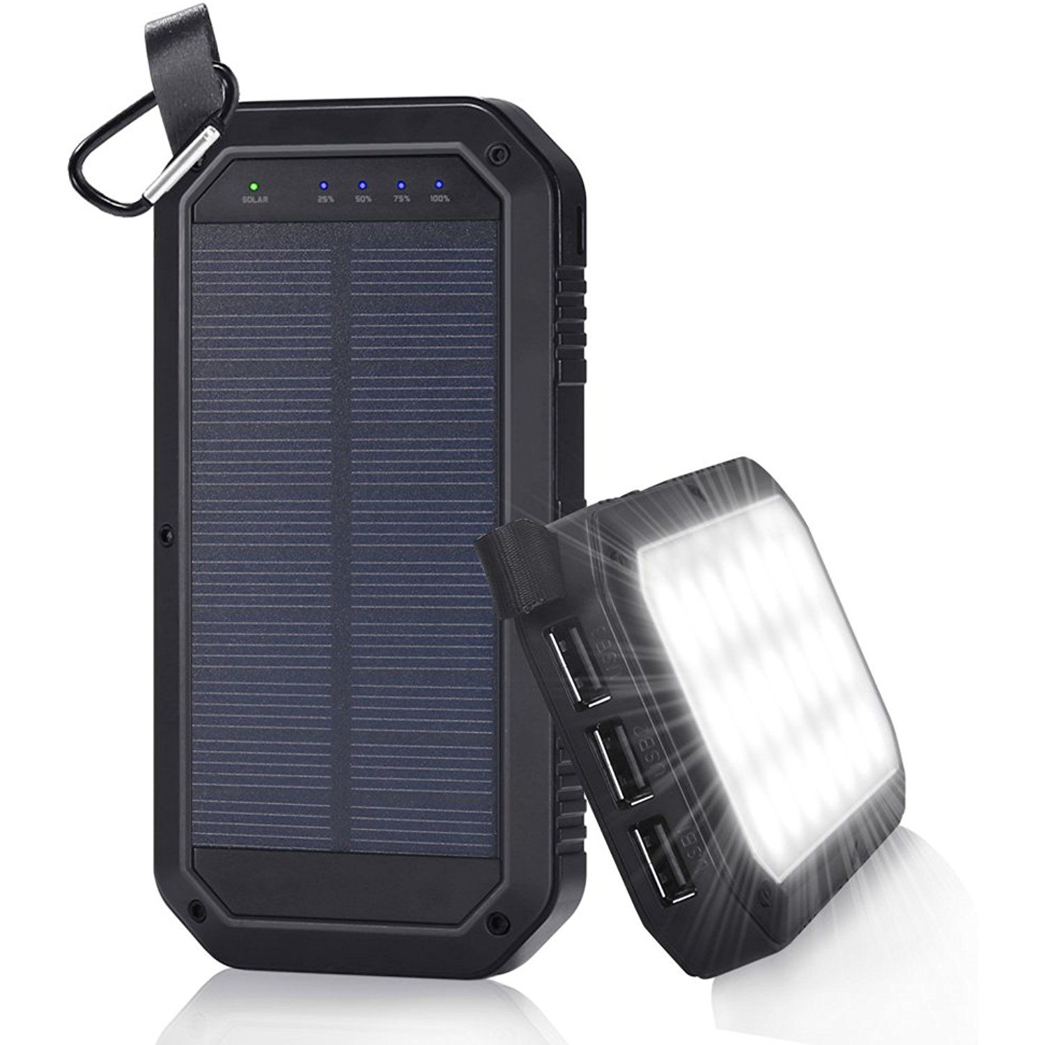 solar charger 8000mah beswill 3 usb ports and 21 led light portable