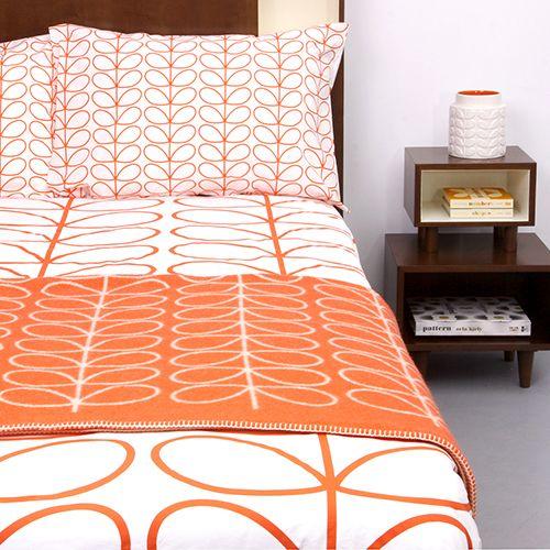 Linear Stem Red Bed Linen Orange Duvet Covers Red Bedding Retro Bed