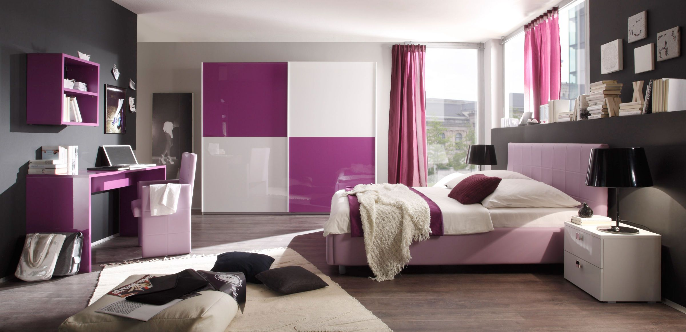 schlafzimmer wei lila hochglanz lack italien colorativi1 pimp my room pinterest. Black Bedroom Furniture Sets. Home Design Ideas