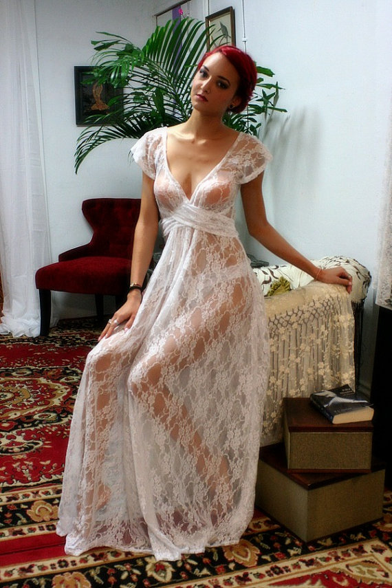 White Lace Bridal Nightgown Full Sweep Capelet Sleeve Wedding ...