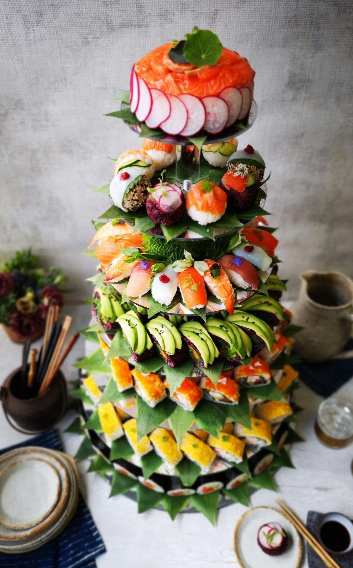 Sushi Tower Diy Sushi Sushi Party Sushi Libera la tua fame e provali tutti! sushi tower diy sushi sushi party