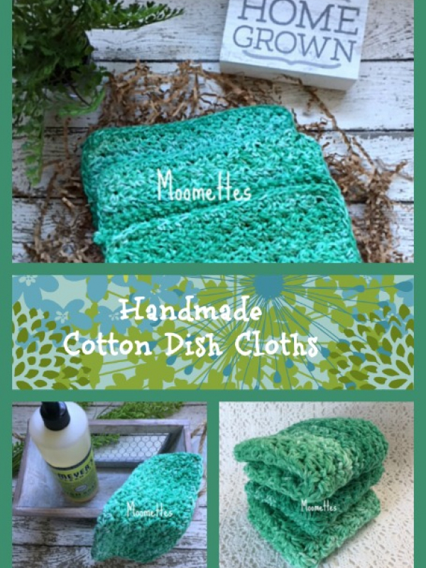 Cotton Dishcloth Set Green Farmhouse Kitchen Cleaning Cloths Dish