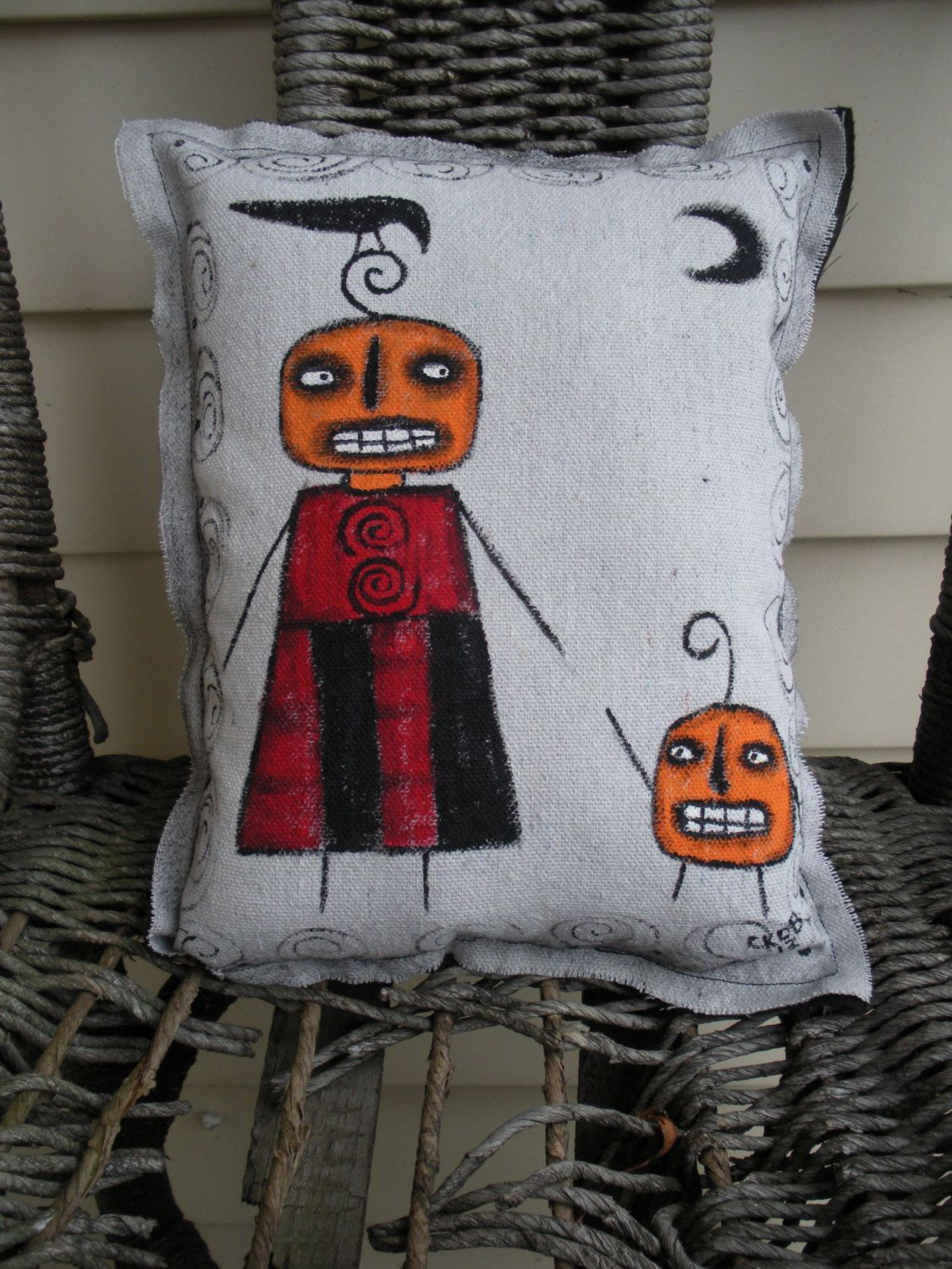 Halloween Pumpkins Art Pillow Hand Painted by KimberlyBarnesArt, $20.00