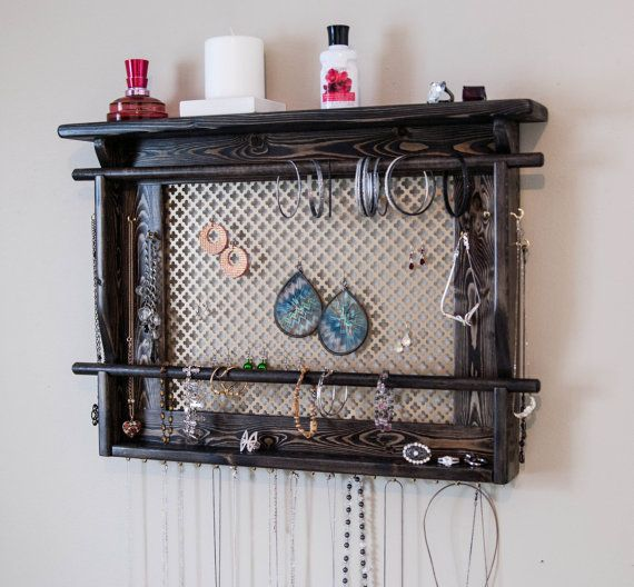 LARGE Jewelry Holder shown in Ebony Finish Wall Mounted Jewelry