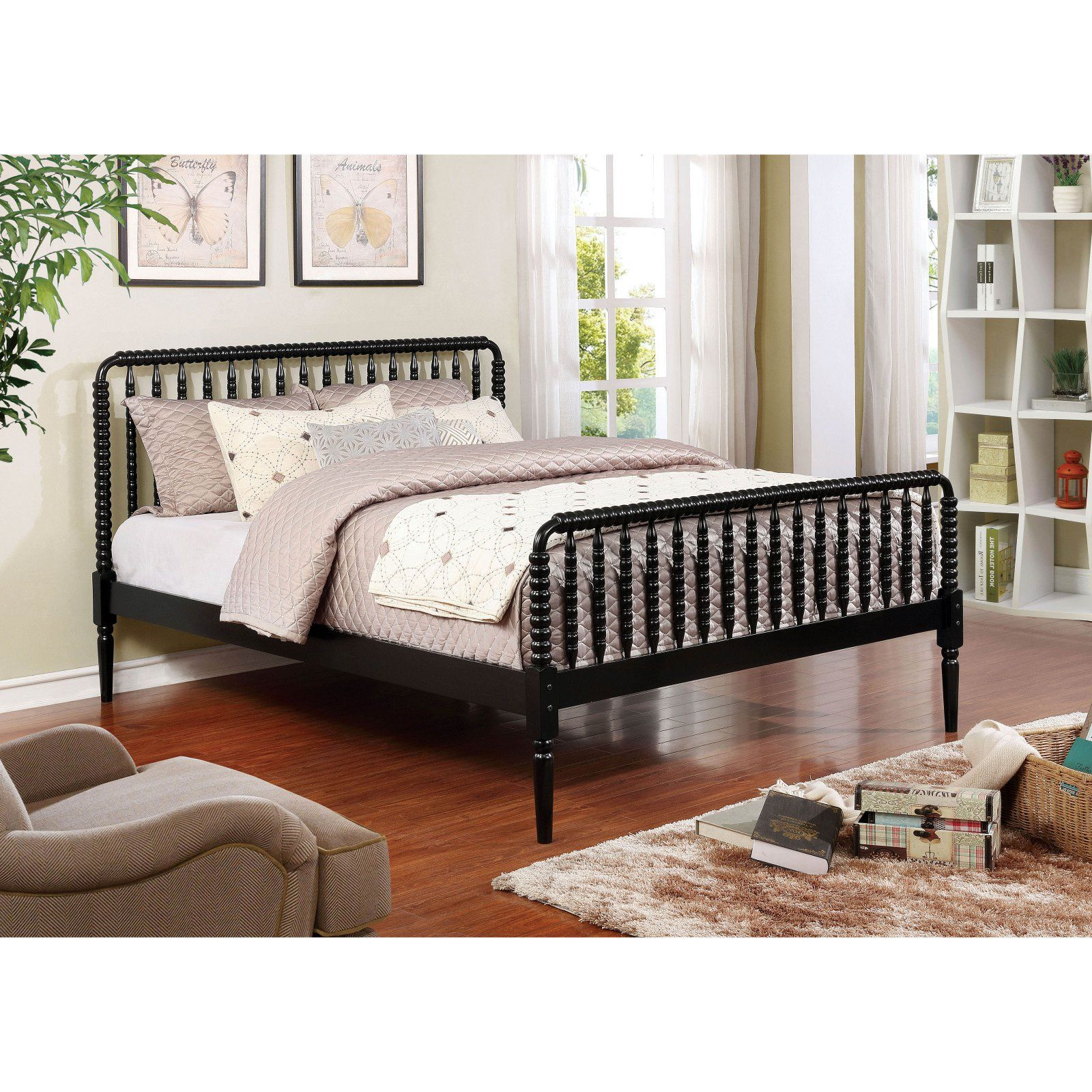 Furniture of America Jenny Lind Rail Bed, Size Queen in