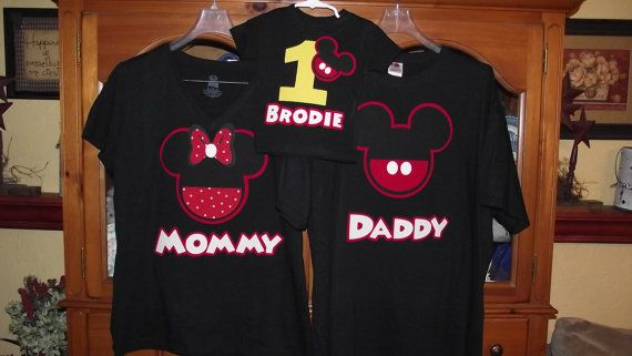 a77e9519e Mickey Mouse Minnie Mouse - Red Black Yellow Disney Birthday Family Custom T -Shirt Personalized Applique $18.00 each.